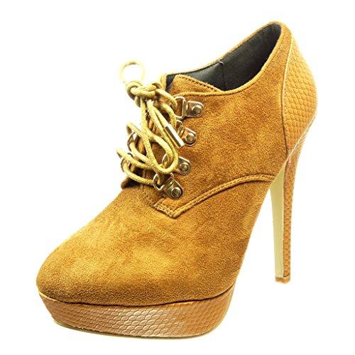 Angkorly - Zapatillas de Moda Botines low boots stiletto zapatillas de plataforma mujer piel de serpiente metálico Talón Tacón de aguja alto 12 CM - Camel