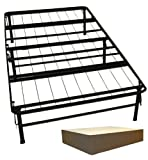 DuraBed Steel Foundation & Frame-in-One Mattress Support System Foldable Bed Frame with Decorative Bed Skirt, Twin, Brown