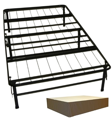 DuraBed Steel Foundation & Frame-in-One Mattress Support System Foldable Bed Frame with Decorative Bed Skirt, Twin, Brown by Epic Furnishings