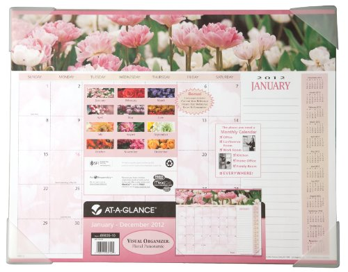 - AT-A-GLANCE Visual Organizer Recycled Floral Panoramic Desk Pad, 22 x 17-Inches, 2012 (89805)