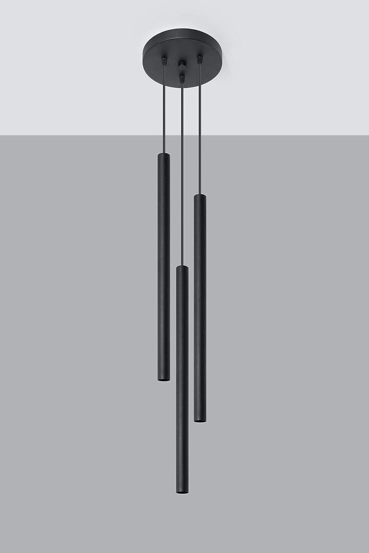 Lampadario a sospensione in acciaio 20 x 20 max colore: Nero Sollux Lighting