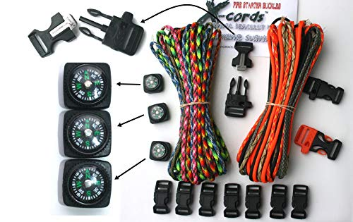 X-cords Paracord Bracelet Kit with Fire Starter Buckle-compass-buckles-whistle Buckles and Instructions Makes 10 (Camo Explorer Kit)]()