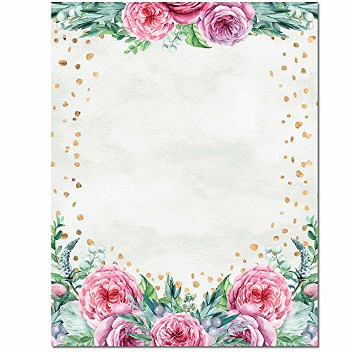 Confetti Flowers Letterhead Laser & Inkjet Printer Paper, 100 Pack Border Letterhead 100 Sheets