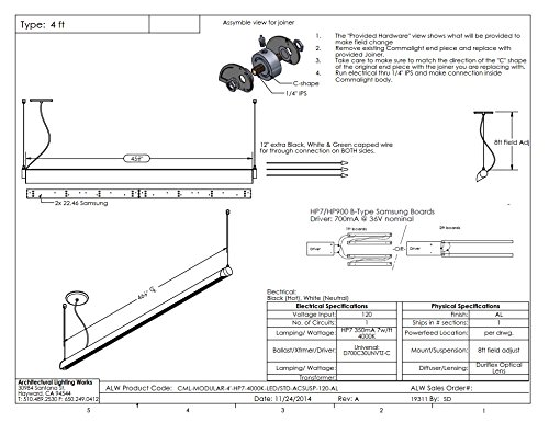 ALW CML 4' LED Pendant, Aluminum Finish, CLEARANCE ITEM by COMMALITE (Image #2)