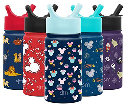 Simple Modern Kids Insulated Cup with Lid and Silicone Straw Stainless Steel Flask Metal Thermos for Toddlers Boys and Girls, 14oz Water Bottle, Minnie and Mickey Freeplay