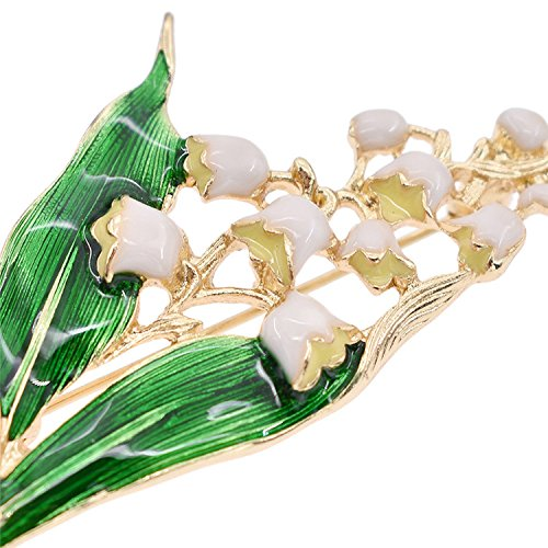 Trendy Alloy Enamel White Floral Leaf Brooch Lily Of Valley Gold Color Brooch Pin Jewelry For Women by Baolustre (Image #4)