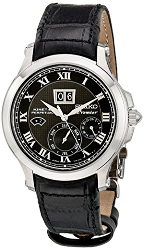 Seiko Men's SNP041P2 Leather Synthetic Analog with Black Dial Watch