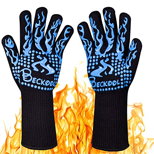 Beckool Heat Resistant BBQ Gloves, Barbecue Accessories Oven Mitts 932 Kitchen, Cooking, Grilling, Baking by Beckool