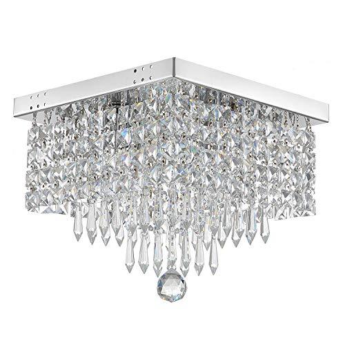 (Moooni Crystal Chandelier Modern Flush Mount Ceiling Lights W12