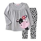 Coralup Little Girls 2-Piece T-Shirt & Pant Set(Cow) S4018(5T,Grey)