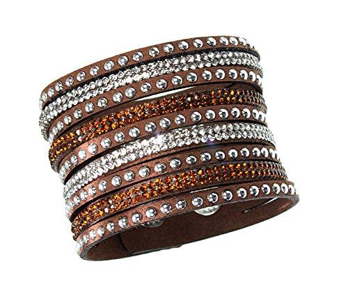 White Rhinestone Studded Wide Cuff Wrap Bohemian Snap Style Brown Bracelet ()