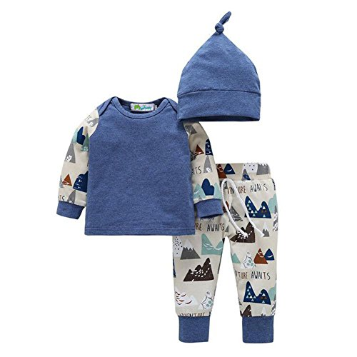 MiyaSudy Newborn Baby Boys Girls Long Sleeve T-shirts Pants Hats Outfits Clothes (XS/0-6 M, Blue)