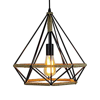 Pendant Light, MKLOT Ecopower Edison Minimal Vintage Hemp Retro Style Wrought Iron Birdcage Chandelier Diamond Creative Restaurant Lighting Lamp Fixture