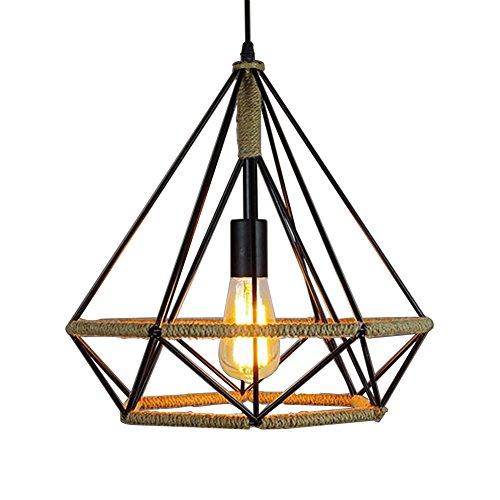 Pendant Light, MKLOT Ecopower Edison Minimal Vintage Hemp Retro Style Wrought Iron Birdcage Chandelier Diamond Creative Restaurant Lighting Lamp Fixture