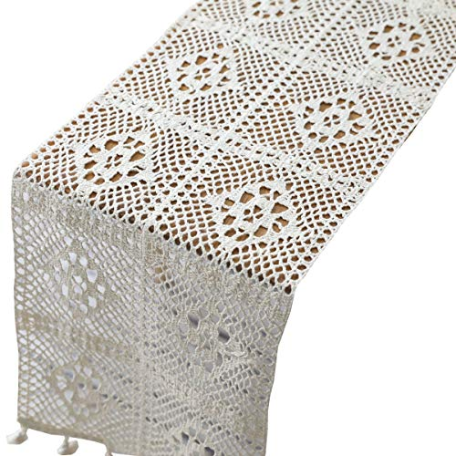 HomeyHo Rustic Cotton Farmhouse Elegant Table Runner with Tassels Dining Room Table Runners Lace Decoration, 9.5 x 55 Inch