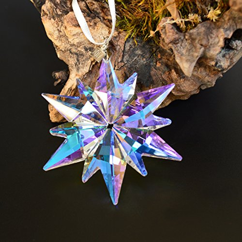 XIANGBNA 2017 Christmas Crystal Star Snowflake Ornaments