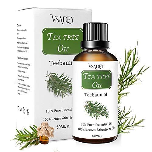 VSADEY Aceite Esencial de Arbol de Te 50ml, Organico 100% Puro y Natural Aceite de Arbol de Te Aceites Esenciales Tea Tree Essential Oil Para Masaje, la Cara y Cuerpo Tratamiento Acne Para Piojos