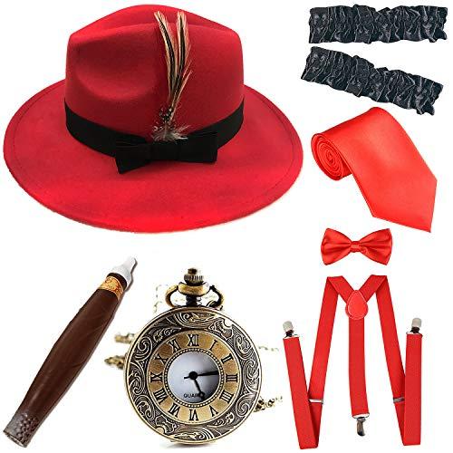1920s Trilby Manhattan Fedora Hat, Plastic Cigar/Gangster Armbands/Vintage Pocket Watch, Red