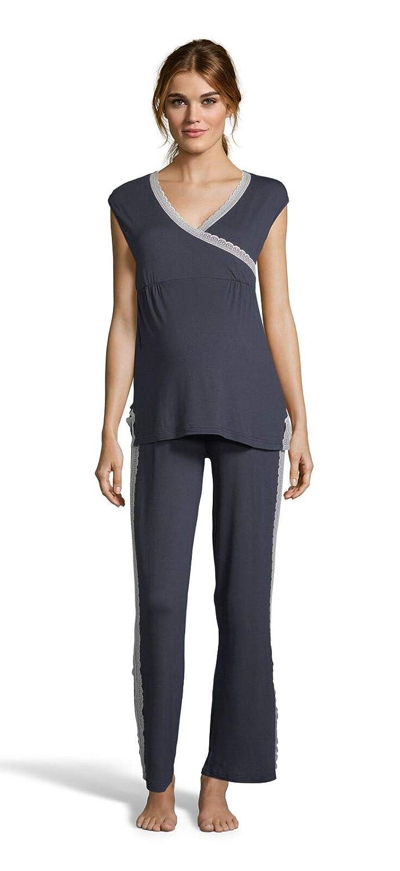 Deep Navy Lamaze Womens Maternity Short Sleeve Shirt and Elastic Waist Pants Pajama Set
