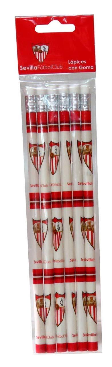 Sevilla FC Set 6 l/ápices con Goma Papeler/ía, Talla /única CYP Brands GS-404-S