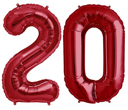 Tellpet Red Number 20 Balloon, 40 Inch]()