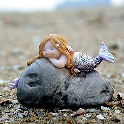SER ITYHTR Adornos Estilo Europeo Sala de Estar Ornamento Acuario Pecera Sirena Carácter Sirena y Cangrejo