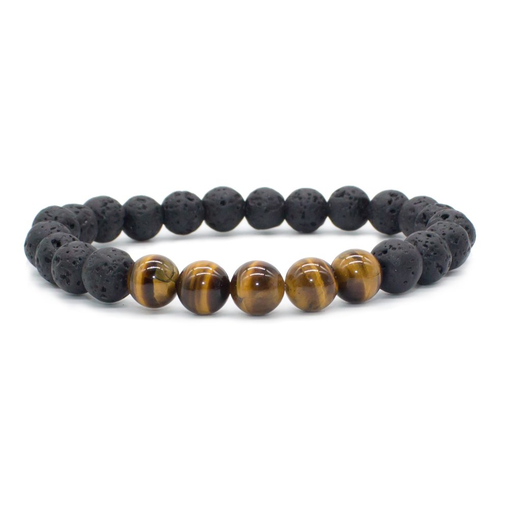 Bivei Natural Lava Rock Stone Essential Oil Diffuser Bracelet Healing Energy Gemstone Buddhist Mala Jewelry W/5 Tiger Eye Stone/Howlite anbivi11121845
