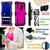 Value Pack + for 6.2'' Samsung S9+ Galaxy S 9 + PLUS Case Holster Phone Case Belt Clip Kick stand Armor Grip Sides Hybrid Shock Bumper Cover (Pink)