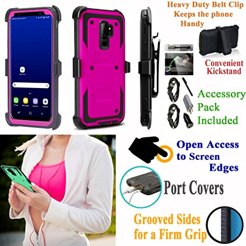 Value Pack + for 6.2'' Samsung S9+ Galaxy S 9 + PLUS Case Holster Phone Case Belt Clip Kick stand Armor Grip Sides Hybrid Shock Bumper Cover (Pink) by 6goodeals