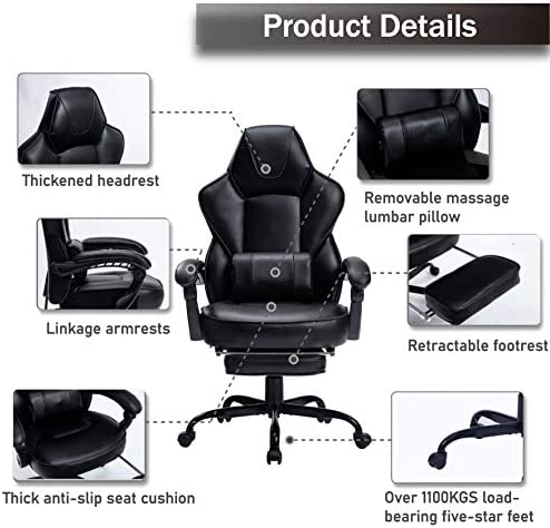 HEALGEN Reclining Gaming Chair with Large Lumbar Support Cushion Racing Style Video Game PC Computer Gamer Gaming Chairs Ergonomic Office High Back Chair with Headrest(HG085-BLK) 51maAh8Aq4L