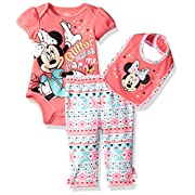 Disney Baby Girls' Minnie Mouse 3-Piece Bodysuit, Pant, and Bib Set, Coral, 3-6 Months