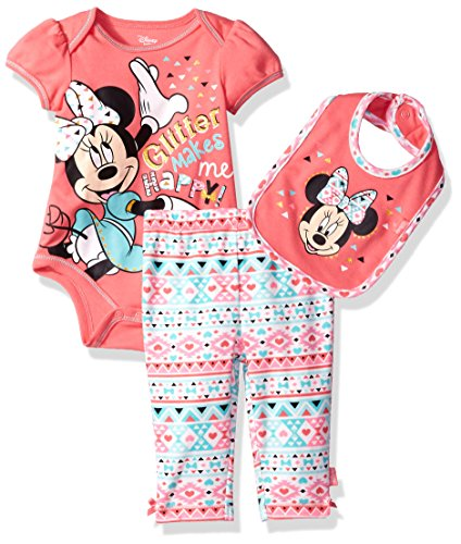 Disney Baby Girls' Minnie Mouse 3-Piece Bodysuit, Pant, and Bib Set, Coral, 0-3 Months