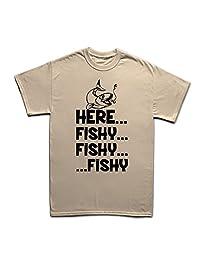 Here Fishy Fishy Fishing Rod Tackle Angler Bait Running T-shirt