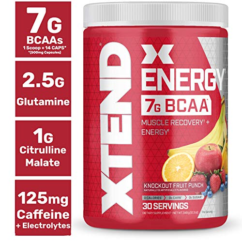 XTEND Energy BCAA Powder Knockout Fruit Punch | 125mg Caffeine + Sugar Free Pre Workout Muscle Recovery Drink with Amino Acids | 7g BCAAs for Men & Women | 30 Servings | Packaging May Vary