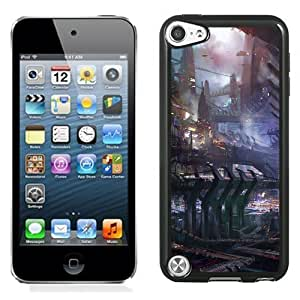 NEW Unique Custom Designed iPod Touch 5 Phone Case With Science Fiction City Illustration_Black Phone Case