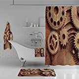 iPrint Bathroom 4 Piece Set Shower Curtain Floor mat Bath Towel 3D Print,Theme Gears Mechanical Copper Device Steampunk,Fashion Personality Customization adds Color to Your Bathroom.