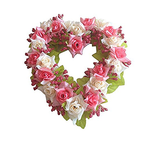 Meiyiu Romatic Simulated Heart-shape Garland Used For Wedding Scene Decoration, Wedding, Wedding room decoration Pink (Front Door Halloween Decorations Pinterest)