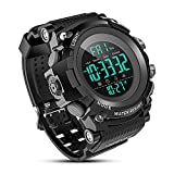 Men's Digital Sport Watch, Military Watches with 50M Waterproof Stopwatch Army Alarm Chime Hourly Count Down Calendar Date Dual Time and Simple Luminous 12/24 for Men—Black