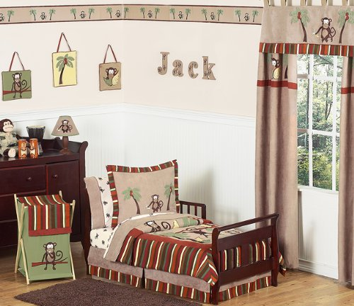 Monkey Bed Skirt for Toddler Bedding Sets by Sweet Jojo Designs