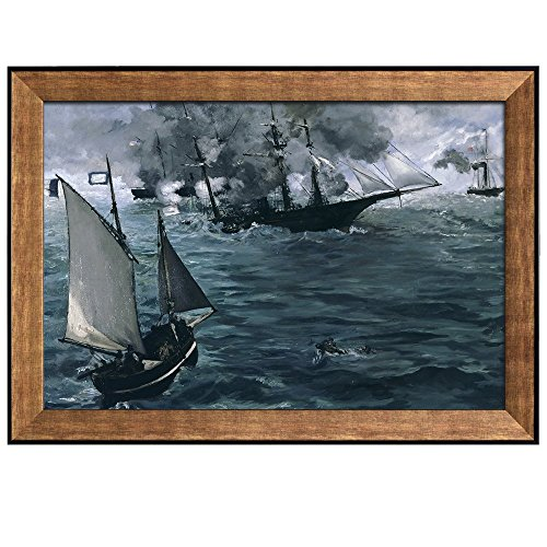 The Battle of the Kearsarge and the Alabama by Edouard Manet Framed Art