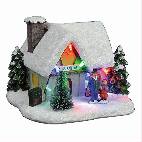 Lightahead Christmas LED Lighted House Sculpture Musical Decoration with 8 melodies Tabletop Centerpieces (Post Office) Christmas Tree For Office