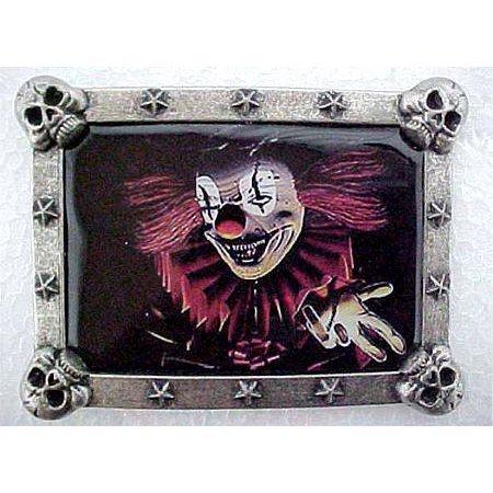 Evil Buckle (Wicked Clown Pewter Framed Belt Buckle)
