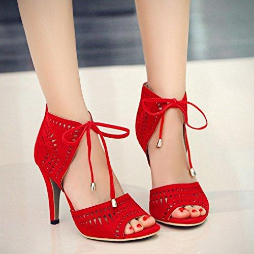 TAOFFEN Mujer Peep Toe Sandalias Occidental Tacon Alto Cut-out Cordones Zapatos Rojo