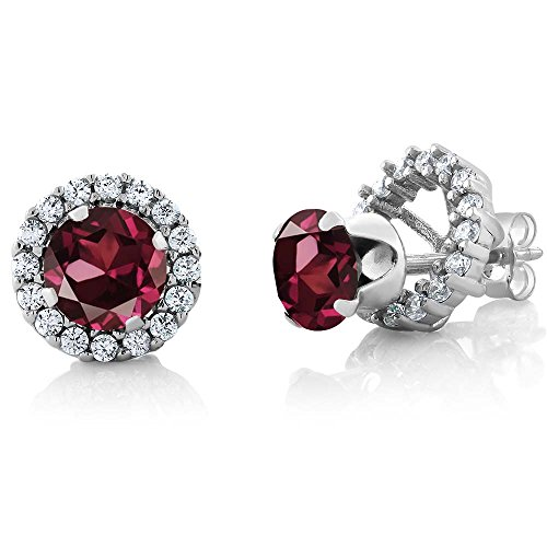 Gem Stone King 2.00 Ct Round 6mm Red Rhodolite Garnet 925 Silver Removable Jacket Stud Earrings
