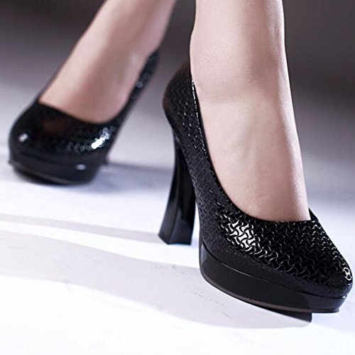 Shoes Black Textured High Heel Pumps Round Easemax Toe Trendy Chunky Platform Womens wx7naR1Zvq