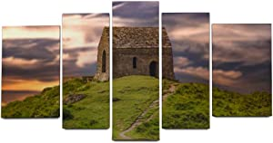 NOAON for Home Decor Personality Chapel Hill Evening Sky Rame Head Cornwall Church Wall Art Ready to Hang Wood Framed Canvas Prints Irregular
