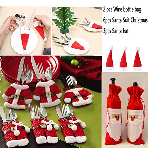 KONLOY Christmas Table Decorations Santa Silverware Holder Pockets Christmas Hats Santa Claus Wine Bottle Decoration Bag Cover for Christmas Xmas Gift Dinner Party Table ()