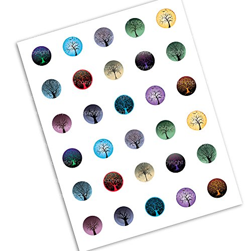 25mm Tree of Life Collage Sheet Circle Images for Jewelry Making Scrapbooking and More