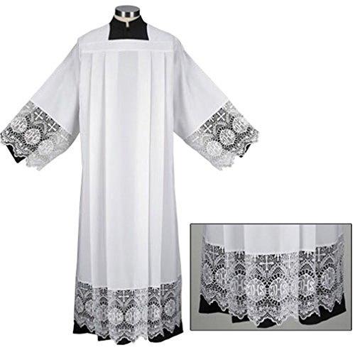Trinity Liturgical Church Garment IHS Lace Polyester Surplice (Extra Large - Back: 43
