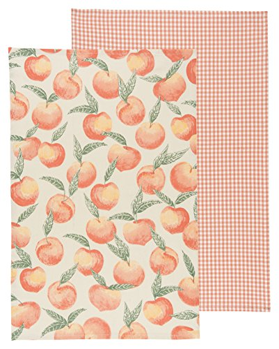 Now Designs Teatowels, Set of Two, Peaches